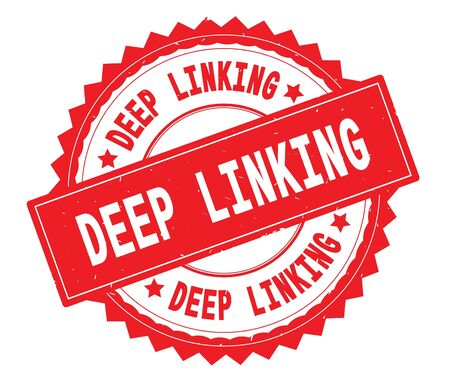 DEEP LINKING red text round stamp, with zig zag border and vintage texture. Stock Photo