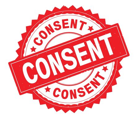 CONSENT red text round stamp, with zig zag border and vintage texture. Stock Photo