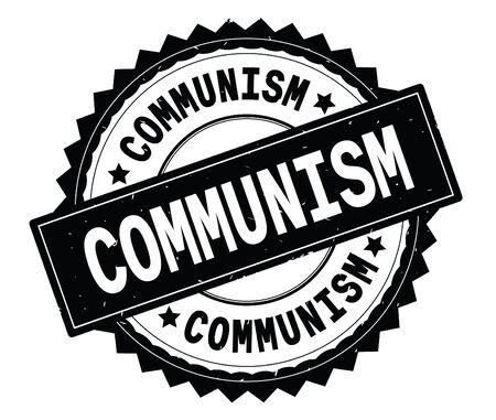 Timbro tondo con testo nero COMMUNISM, con bordo a zig zag e trama vintage. Archivio Fotografico - 92803328