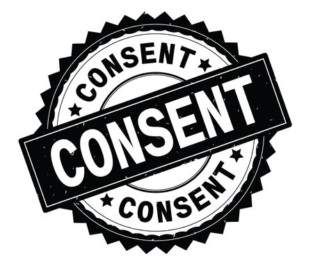 CONSENT black text round stamp, with zig zag border and vintage texture.