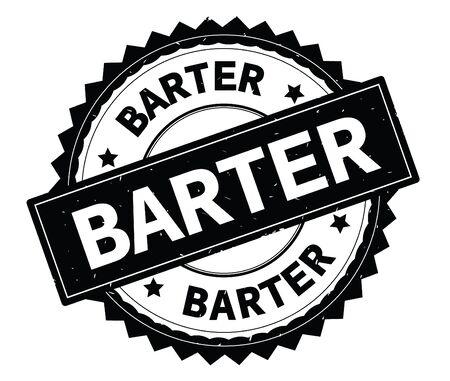 Timbro rotondo testo nero di BARTER, con bordo a zig zag e texture vintage. Archivio Fotografico - 92803384
