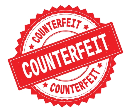 COUNTERFEIT red text round stamp, with zig zag border and vintage texture. Фото со стока - 92803391