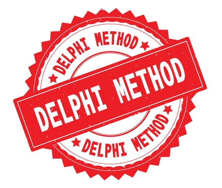 DELPHI METHOD red text round stamp, with zig zag border and vintage texture. Stock Photo - 92803425