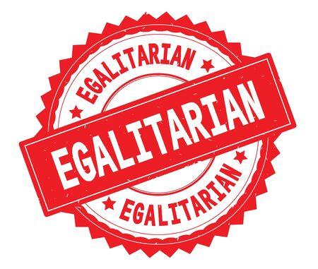 EGALITARIAN red text round stamp, with zig zag border and vintage texture. Stock Photo
