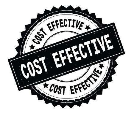 비용 효과적인 검은 텍스트 라운드 스탬프 지그재그 테두리와 빈티지 텍스처 라운드.