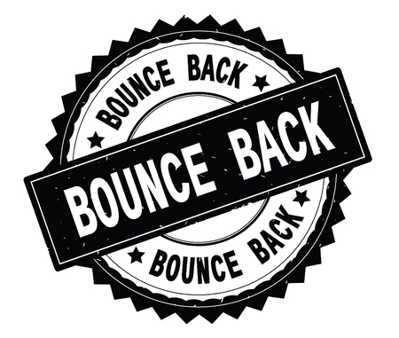 BOUNCE BACK black text round stamp, with zig zag border and vintage texture. Stock fotó