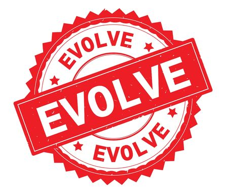EVOLVE red text round stamp, with zig zag border and vintage texture.