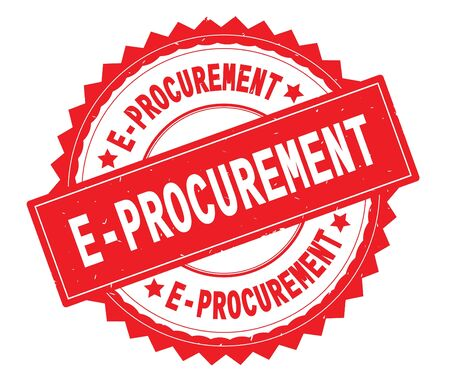 E PROCUREMENT red text round stamp, with zig zag border and vintage texture. Stock Photo