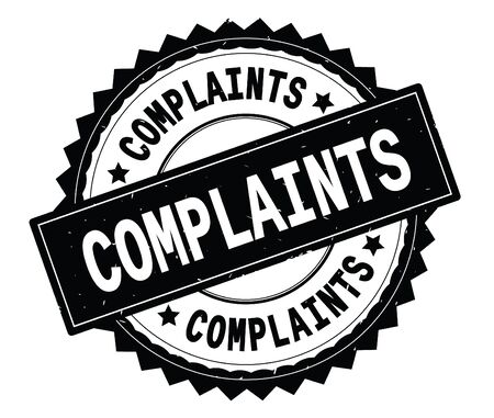 COMPLAINTS black text round stamp, with zig zag border and vintage texture.