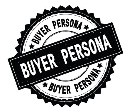 BUYER PERSONA black text round stamp, with zig zag border and vintage texture.