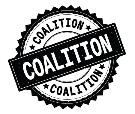 COALITION black text round stamp, with zig zag border and vintage texture.