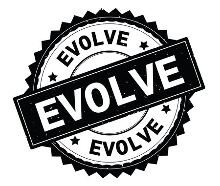 EVOLVE black text round stamp, with zig zag border and vintage texture.