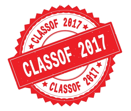 CLASSOF 2017 red text round stamp, with zig zag border and vintage texture.