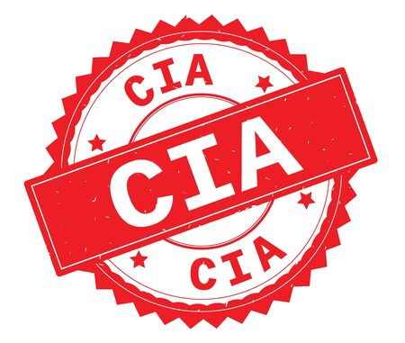 CIA red text round stamp, with zig zag border and vintage texture.