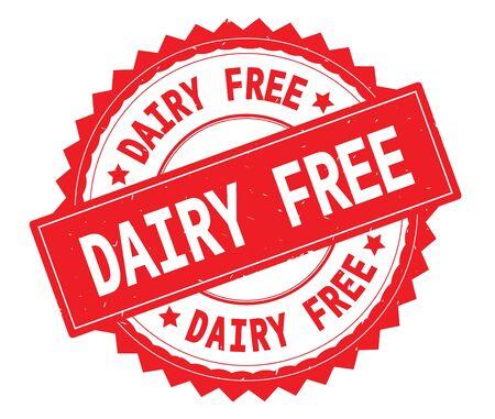 DAIRY FREE red text round stamp, with zig zag border and vintage texture. Standard-Bild