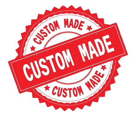 CUSTOM MADE red text round stamp, with zig zag border and vintage texture.