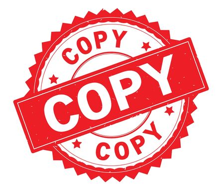 COPY red text round stamp, with zig zag border and vintage texture.