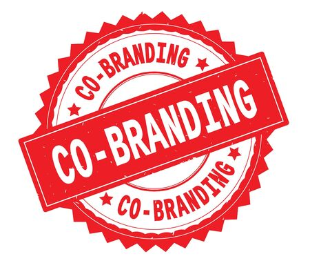 CO BRANDING red text round stamp, with zig zag border and vintage texture.
