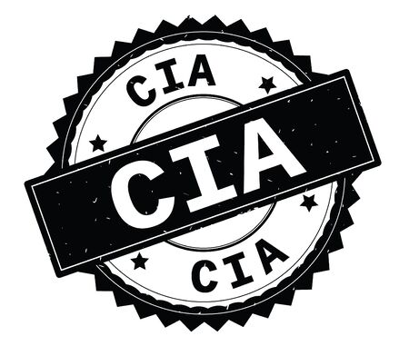 CIA black text round stamp, with zig zag border and vintage texture. Banco de Imagens