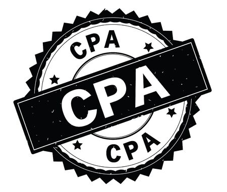 CPA black text round stamp, with zig zag border and vintage texture. Stock Photo