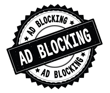 AD BLOCKING black text round stamp, with zig zag border and vintage texture.