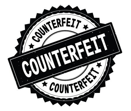 COUNTERFEIT black text round stamp, with zig zag border and vintage texture. Stock Photo