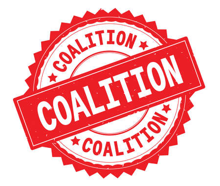 COALITION red text round stamp, with zig zag border and vintage texture.