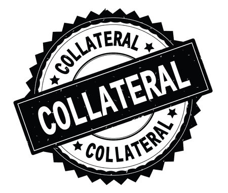 COLLATERAL black text round stamp, with zig zag border and vintage texture.