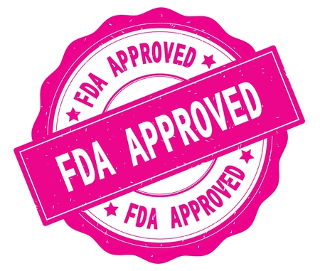 FDA APPROVED text, written on pink, lacey border, round vintage textured badge stamp.