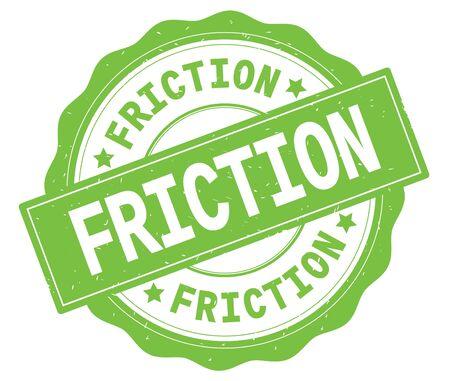 緑、レースの境界線、丸いヴィンテージテクスチャバッジスタンプに書かれたFRICTIONテキスト。