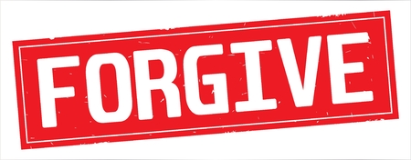FORGIVE text, on full red rectangle vintage textured stamp sign. 版權商用圖片