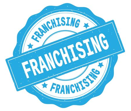 FRANCHISING text, written on cyan, lacey border, round vintage textured badge stamp.