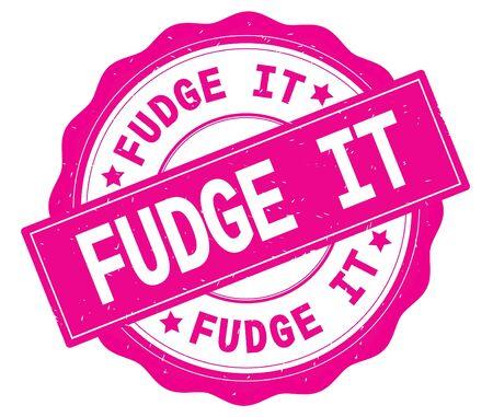 FUDGE IT text, written on pink, lacey border, round vintage textured badge stamp. Stok Fotoğraf