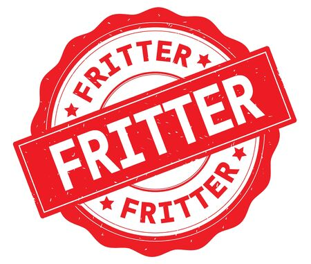 FRITTER text, written on red, lacey border, round vintage textured badge stamp.