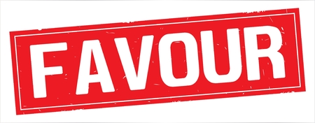 FAVOUR text, on full red rectangle vintage textured stamp sign.