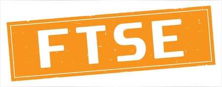 FTSE text, on full orange rectangle vintage textured stamp sign.