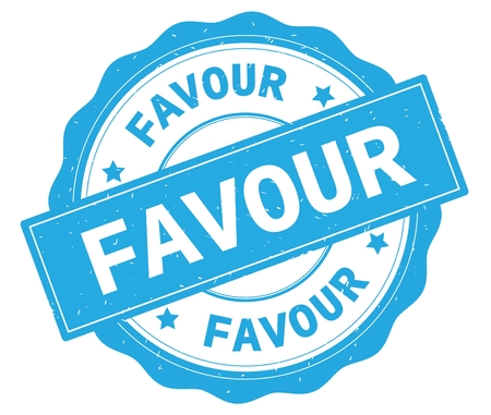 FAVOUR text, written on cyan, lacey border, round vintage textured badge stamp.