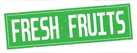 FRESH FRUITS text, on full green rectangle vintage textured stamp sign.