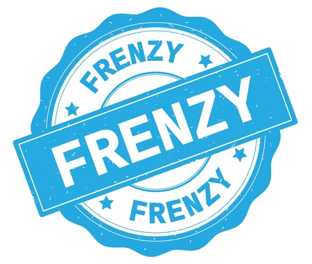 FRENZY text, written on cyan, lacey border, round vintage textured badge stamp.