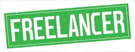 FREELANCER text, on full green rectangle vintage textured stamp sign. Stockfoto