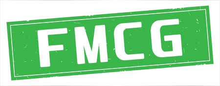 FMCG text, on full green rectangle vintage textured stamp sign. Stock Photo