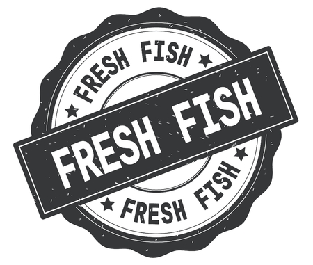 FRESH FISH text, written on grey, lacey border, round vintage textured badge stamp.