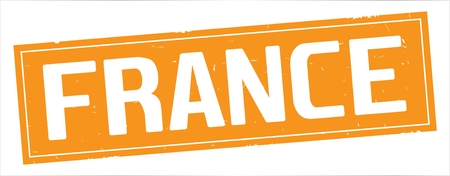 FRANCE text, on full orange rectangle vintage textured stamp sign.