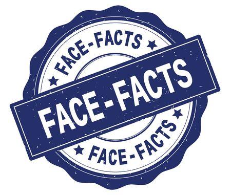 青、レースの境界線、丸いヴィンテージテクスチャバッジスタンプに書かれたFACE FACTSテキスト。