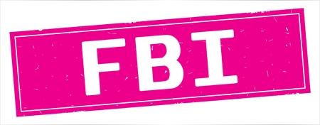 FBI text, on full pink rectangle vintage textured stamp sign. Stock Photo