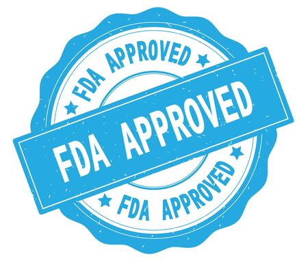 FDA APPROVED text, written on cyan, lacey border, round vintage textured badge stamp. Stock Photo