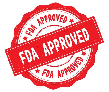 FDA APPROVED text, written on red, lacey border, round vintage textured badge stamp.