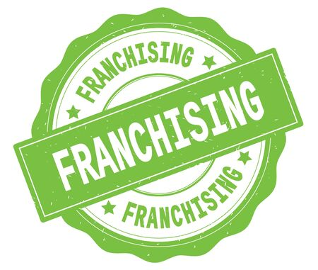 FRANCHISING text, written on green, lacey border, round vintage textured badge stamp.