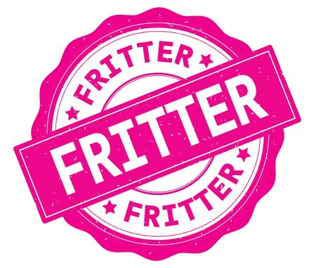 FRITTER text, written on pink, lacey border, round vintage textured badge stamp. Фото со стока