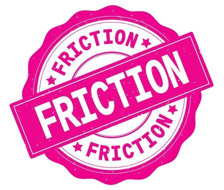 ピンク、レースの境界線、ラウンドヴィンテージテクスチャバッジスタンプに書かれたFRICTIONテキスト。